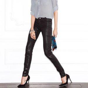 Victoria's Secret Black Wax Coates Skinny Jeans 4